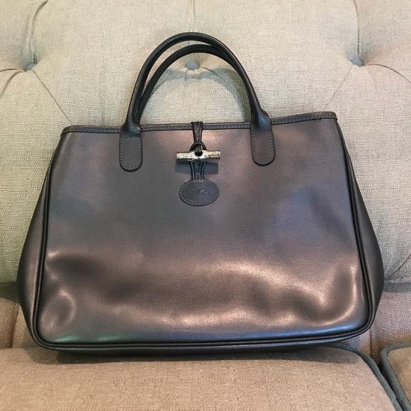 Longchamp Roseau Tote Bag in metallic gunmetal